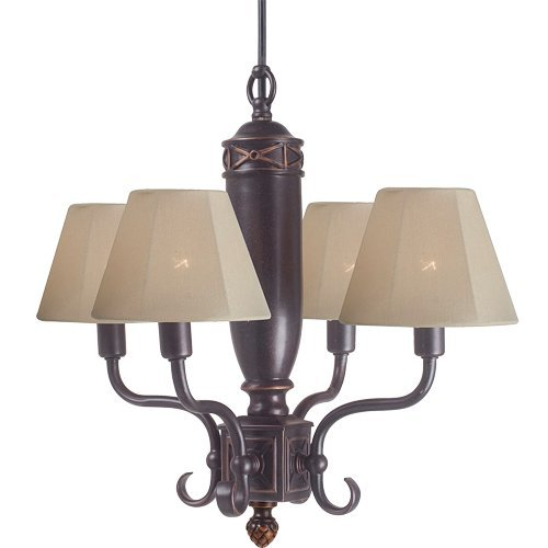 Royce Lighting RLCH5142/4-21 Brentwood Collection 4-Light Portable Indoor/Outdoor Chandelier, Tan Fabric Shades, Grecian Bronze Finish