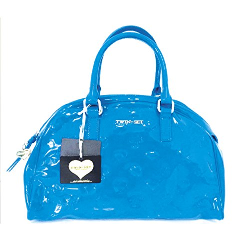 TWIN SET by SIMONA BARBERI A7S4MD - borsa a spalla donna bauletto pelle lucida monogramma colore bluette