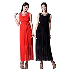 Numbrave Powernet Long Party Dress Combo of 2