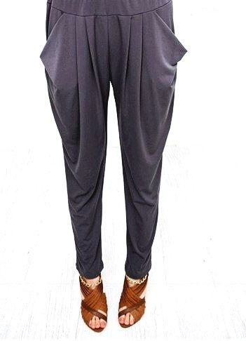 Stylish Harem Long Pants Black Women's Skinny Leg Slim Legging with Drape Pocket
