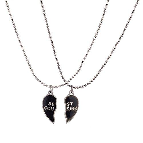 Lux accessori Burnish Argento Best Cugini Mood rimovibile Cuore Collana Set (2pc)