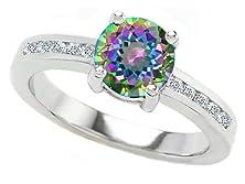 buy Star K Round 7Mm Rainbow Mystic Topaz Ring Size 5