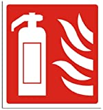 Fire Safety Sign - Fire Extinguisher / Flames Sign - Adhesive Vinyl - 400x200mm(FI-011-AP)