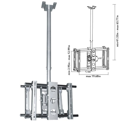 """Cmple - Heavy-Duty Ceiling Mount For Double Led, 3D Led, Lcd, Plasma Tv'S (23-42"""") - Silver"""