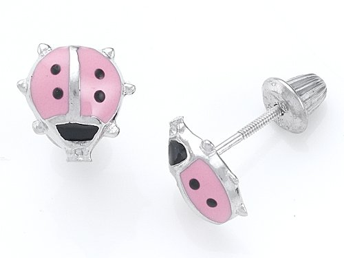 925 Sterling Silver Childrens Pink and Black Ladybug Earrings LIFETIME WARRANTY