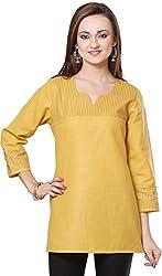 Vedanta Women's Regular Fit Cotton Kurta (KICMCOP44-YELLOW-S, YELLOW, Small)