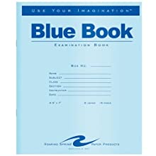 Roaring Spring Exam Blue Book, Margin Rule, 8-1/2 x 7 Inches, White, 8 Sheets/Pad (77512)