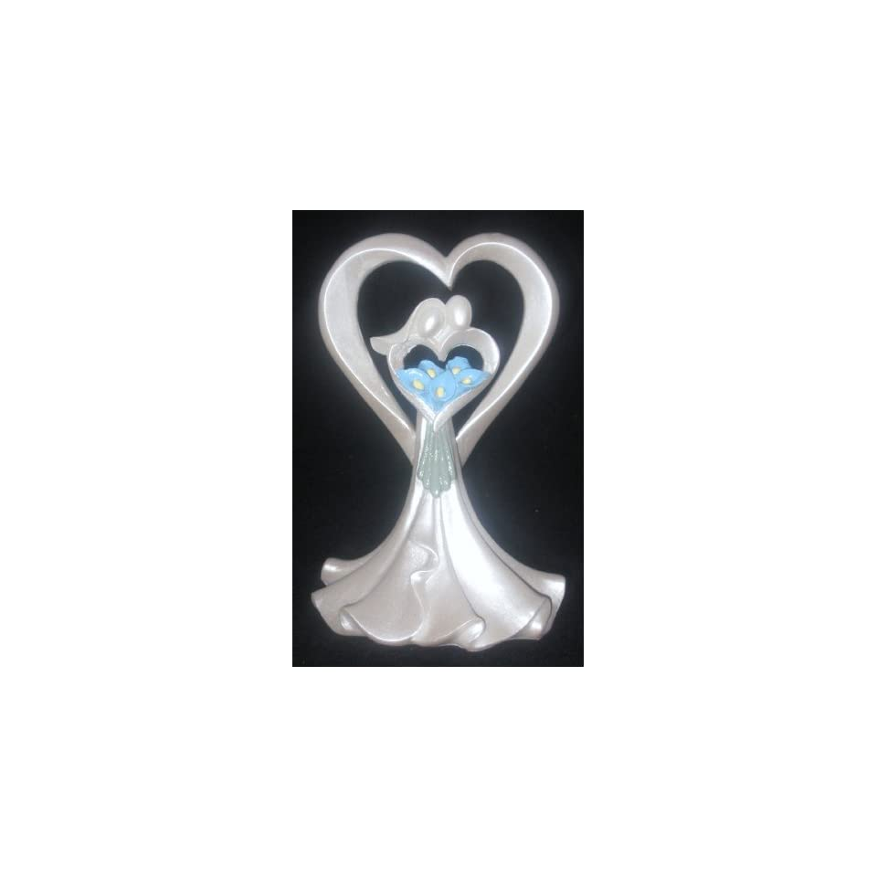 Faceless Bride and Groom with Blue Calla Lily Bouquet Cake Top