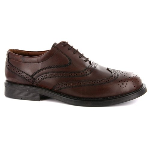 Mens Quality Leather Wing Cap Brogue Oxford Brown Shoes UK 8