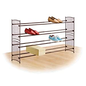 Lynk 146101 Expandable/Stackable Mesh Shoe Rack, Bronze