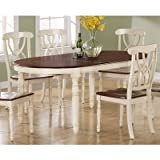 Monarch Specialties Veneer Dining Table, 42-Inch by 60-Inch by 78-Inch, Antique White/Walnut