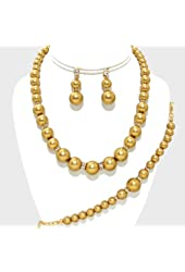 Gold Crystal Gold Pearl Bridesmaid Bridal Necklace Bracelet Earrings Set