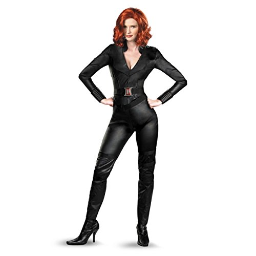 Black Widow Avengers Movie Deluxe with Wig Adult Size:Large With Wig