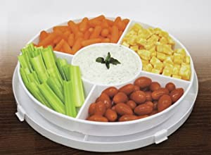 4-in-1 Portable Plastic Party Platter with Lid - Cupcake Carrier Egg Holder Veggie Tray... by Imperial Home