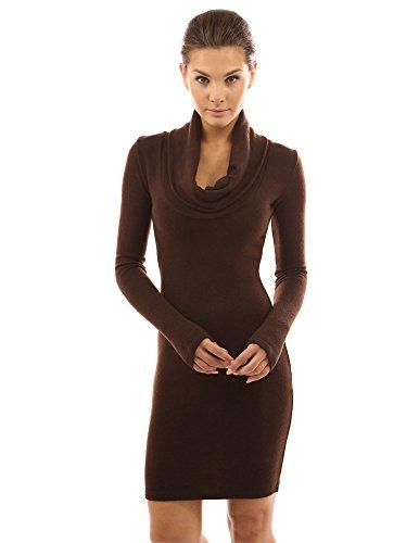 PattyBoutik Women's Cowl Neck Long Sleeve Knit Dress (Brown L)