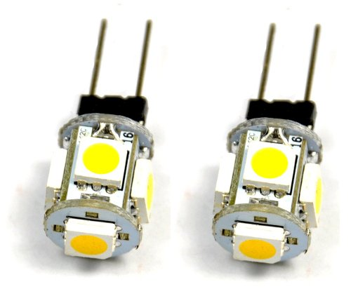 Cutequeen Car Led Holagen Bulb G4 Base Tower Type 12V Ac/Dc 5050 5Smd 5-Smd Replacemnt For Rv Camper Trailer Boat Marine Lumen Warm White (Pack Of 2)
