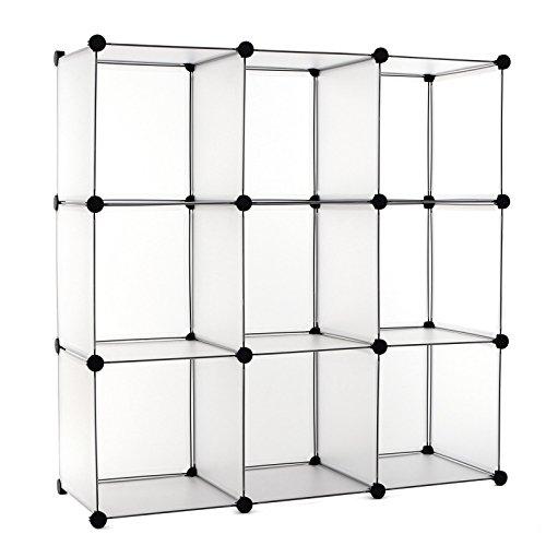 Songmics-Regalsystem-DIY-Cube-Aufbewahrung-Badregale-Bcherregal-Schuhregal-Sideboard-Kommode-Kleiderschrank-Wei-96-x-96-x-315-cm-LPC115S