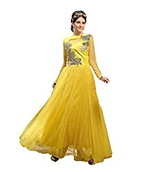 Suchi Fashion Embroidered Yellow Net Semi Stitched Party Wear Gown