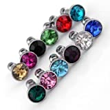 Bulk 12 Colors Crystal Bling Metal Anti Dust Plug for Apple Iphone Lots