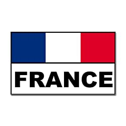 France french flag banner Rectangle Sticker Sticker Rectangle by CafePress - White