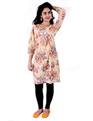 Pure Nautanki Enchanted Floral Print Lemon Kurta With Embroidery