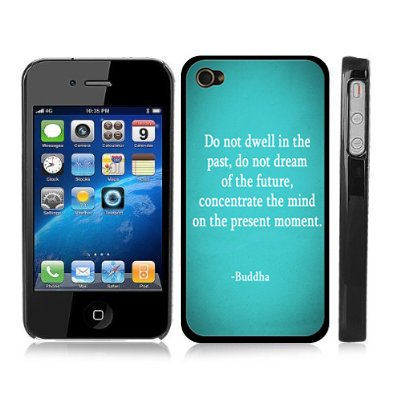 Buddha Inspirational Quote Snap-On Cover w/ Black Hard Carrying Case for iPhone 4/4S