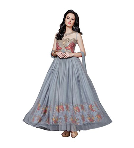 Dev Fashion Silver Colour Net Gown Dress Material With Floral Design