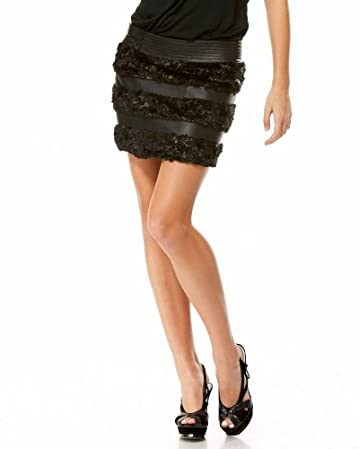 bebe Fur Shag Mini Skirt