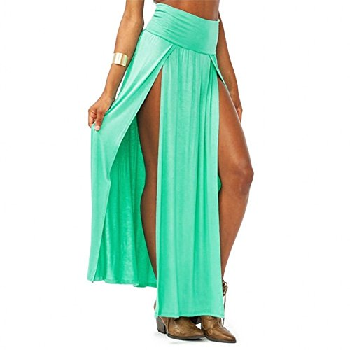 Spikerking Women's Sexy High Waisted Double Slits Elastic Open Cotton Long Maxi Skirt,(Size:Small)Green