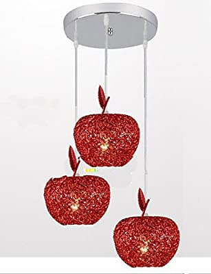 qiuxi High-end fashion Interior Ceiling lamp Woven Aluminum Chandelier With Three Head Lamp Apple Restaurant A , warm white-110-120v