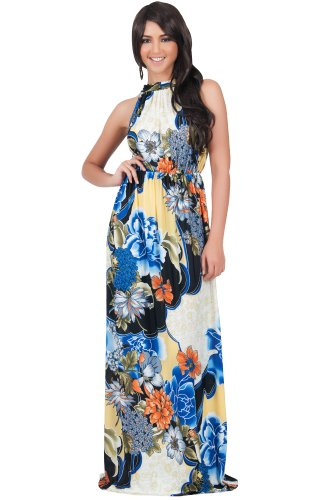 Koh Koh Women's Sleeveless Halter Neck Floral Print Maxi Dress – XLarge – Blue Flower