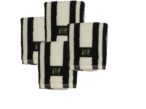 Cotton Dish Cloths (White  Black Rugby Stripe,
