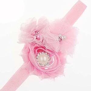 BELLAZAARA Dressy Baby Girl Light Pink Headband chiffon Rose Flower with Pearl