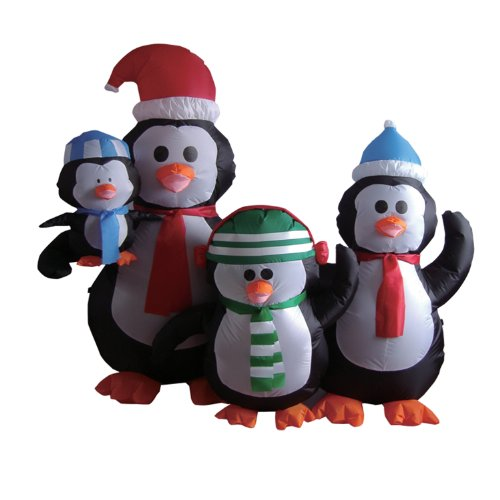 5 Foot Christmas Inflatable Penguins Family Yard