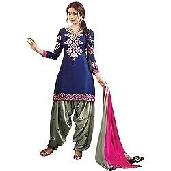 ethnic bazaar blue cotton patiala suit dress material