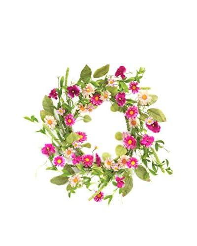 Melrose Wild Flower Wreath, Green/Pink