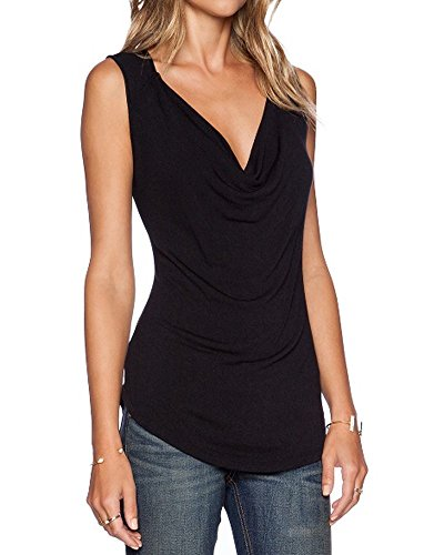 Sarin Mathews Women's V Neck Ruched Sleeveless Sexy Blouse Stretch Tank Tops Black M