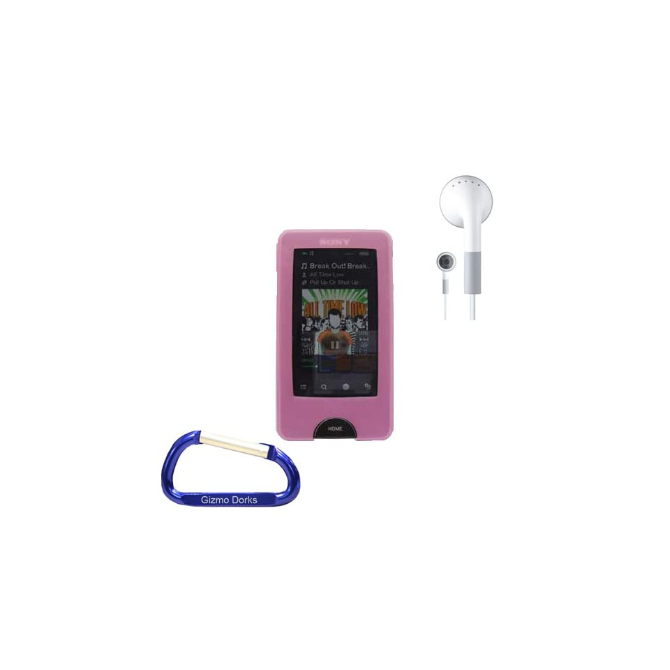 Premium Combo Bundle Kit Pink Silicone Skin Case Cover, Earphones, and Free Carabiner Key Chain for the Sony Walkman X Series (NWZ X1051, NWZ X1061)  Player