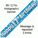 9ft Blue & Silver Stars Holographic Happy 17th Birthday Banner (2.7m length)