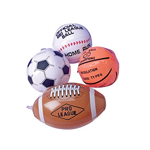 Lot Of 12 Assorted Sports Theme Mini Beach Balls - 5.5""