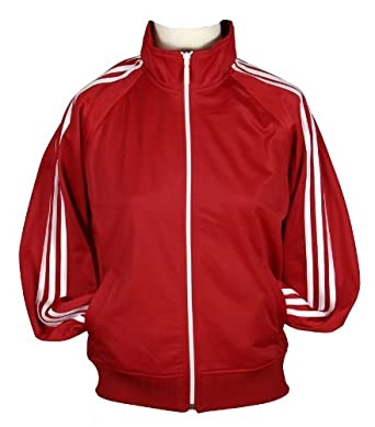 Adidas Womens Full Zip Lightweight Track Jacket (Medium, Red)