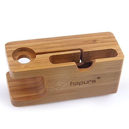 Apple Watch Stand, Hapurs iWatch Bamboo Wood Charg…