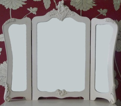 Shabby Chic French Versaille Cream 3 Panel Dressing Table Mirror