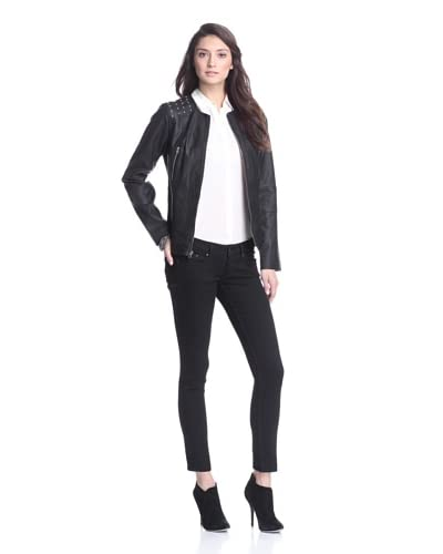 Nicole Miller Women's Leather Jacket with Studs