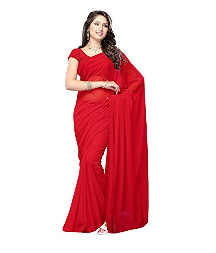 Lovely Look Latest collection of Plain Sarees in Georgette Fabric & in attractive Red Color