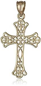 14k Yellow Gold Mini Lacy Cross Charm