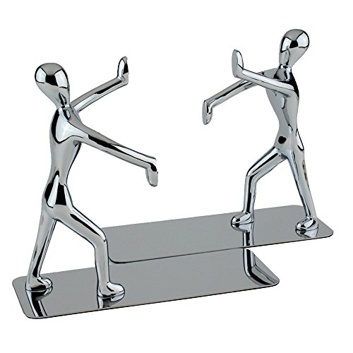 Yoler Bookends Decorative for Office Metal Nonskid Economy Bookcase Business Gifts Kung Fu Man