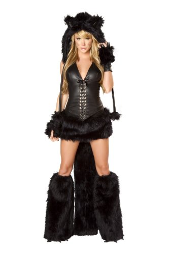 J. Valentine Women's Black Cat Costume Lace-Up Top with Boning and Side Zipper and Faux Fur Trimmed Skirt with Tail, Black