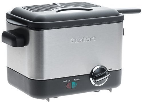 Cuisinart Compact Deep Fryer 1.1 Liter Oil Capacity With Fast Heating And Frying, 3/4 Pound Non-Stick Basket, Adjustable Thermostat And Removable Filter, Small And Compact With A Brushed Stainless Steel Housing