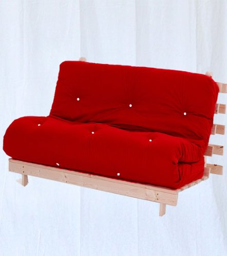 Complete 2 Seater Futon in Red, Double Wooden Futon Base and Luxury Mattress. Versatile & Comfortable, Converts from 2 Seater Sofa to Double Bed in Minutes.